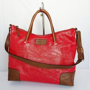 Kate Spade Red Patent and Brown Leather Satchel